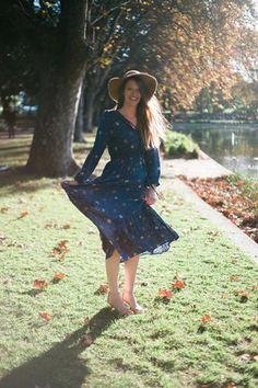 Boho Bohemian Dress nursing floral stretchy maxi long sleeve modest navy boho australia