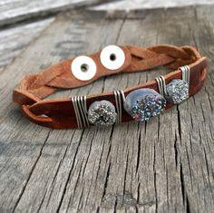 Multi colored trio druzy bracelet by Anette Gomez. Leather Jewelry, Little Things, Pretty Little, Cuff Bracelets, Handmade Jewelry, Belt, Jewellery, Accessories, Gallery
