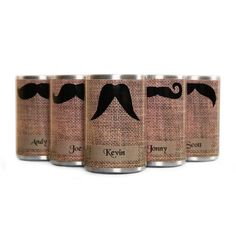 DIY with burlap, stencil and spray paint, just need the metal koozie! -- Personalized Faux Burlap Koozies for Groomsman Best Man by skoodo, $70.00