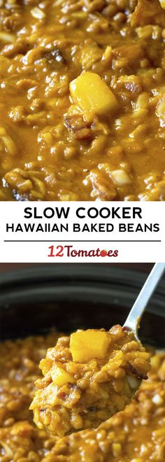 Slow Cooker Hawaiian Baked Bean - the best summer side - Side Dish Recipes - Slow Cooker Baked Beans, Crock Pot Slow Cooker, Crock Pot Cooking, Slow Cooker Recipes, Crockpot Recipes, Cooking Recipes, Pork Recipes, Side Dishes For Bbq, Side Dish Recipes