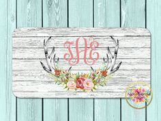 Rosewater Watercolor Floral Deer Antlers - Distressed Wood - Personalized - License Plate - Monogrammed - Car Tag - Weathered Wood by AquaMagnolia on Etsy