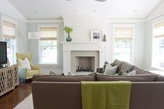 love the paint color:  Benjamin Moore Healing Aloe    love the grass blinds: coronado white sand, bali