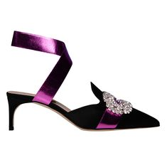 PRE-ORDER Black satin mule Cristal brooch and fuchsia elastic-band detail Heel leather Black Satin, Real Leather, Kitten Heels, Pumps, Band, Shoes, Women, Fashion, Moda