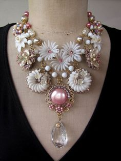 Vintage Repurposed Flower Statement Necklace Bib by rebecca3030, $179.00