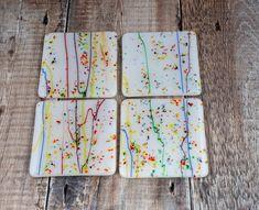 Rainbow Coasters Set of 4 Fused Glass .Rainbow Gifts by PainInTheGlassByGail on Etsy #rainbowcoasters #rainbowgifts #coasterset #setofcoasters #drinkscoasters #winecoasters #newhomegift #housewarminggift #handmadegift #rainbowcolourgift #roomaccent #glassrainbowgift #rainbowdecor #rainbowart Tea Gifts, Coffee Lover Gifts, Gifts For Pet Lovers, Gifts For Wife, Gifts For Her, Handmade Gifts For Him, Handmade Shop, Etsy Handmade, Pet Ashes