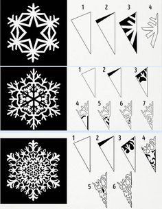 Diy Paper Snowflakes For Kids Snow Flake Ideas Paper Snowflake Template, Paper Snowflakes, Snowflake Pattern, Christmas Snowflakes, Winter Christmas, Christmas Holidays, Christmas Ornaments, Snowflake Designs, Handmade Christmas Decorations