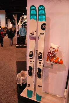 I like this stand used for visual merchandising of skis and boots together.