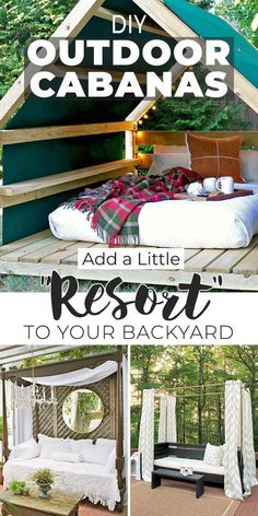 "DIY Outdoor Cabanas – Add a Little ""Resort"" to Your Backyard! - You can make one of these DIY cabanas no matter what your skill level. Check out our favorite tutorials to build an awesome outdoor cabana! #outdoorcabanas #diyoutdoorcabanas #pergola #diypergola #diycabanas #diybackyardideas #backyardideas #diygardenideas #diygardenprojects #TGG"
