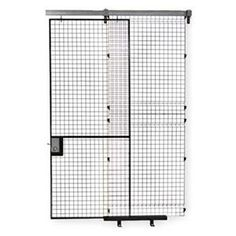 """Wire Partition Slide Door, H 10 Ft, W 10Ft by Husky. $1374.30. Welded Wire Partition Room KitsOffer fast, hassle-free installation and create a secured clear view of stored items. Patented hook design easily slips into place and locks securely into the inside pre-punched post. Enclosures can be rearranged or expanded easily. Black electrostatic polyurethane panels are 8-ga. wire welded into a square 2 x 2"""" pattern with bends in specific areas. Panels fasten int..."""