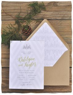 Smitten On Paper | Woodsy Invitation | Evergreen Trees | Pine Cones |