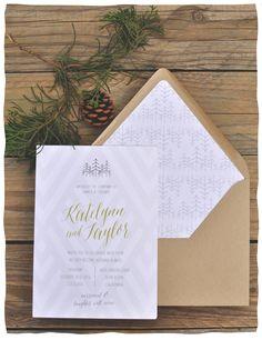 Smitten On Paper | Woodsy Invitation | Evergreen Trees | Pine Cones |