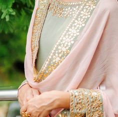 S prefers one colour but she'll do whatever we say looks better. She says top colour and salver same but choose different colour I fine Indian Suits, Indian Attire, Indian Ethnic Wear, Indian Dresses, Designer Punjabi Suits, Indian Designer Wear, Embroidery Suits, Embroidery Patterns, Pakistani Outfits