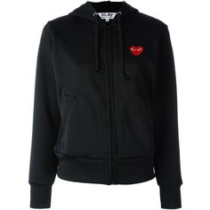 Comme Des Garçons Play Embroidered Heart Hoodie ($363) ❤ liked on Polyvore featuring tops, hoodies, black, hooded pullover, heart tops, embroidered hoodies, sweatshirt hoodies and play comme des garçons