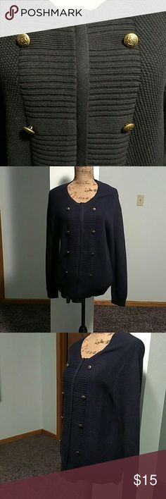 Cardigan Navy Blue front ribbed Cardigan with a zipper. Textured Cardigan. The pictures do not do this Cardigan justice. Only tried on; never worn. Good condition. LOFT Sweaters Cardigans