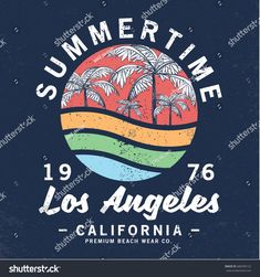 vector design with palms and typo for tee print