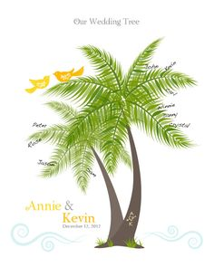 Beach Wedding Palm Tree Guest Signature Poster, Wall Art, Personalized Print with Love Birds in Tropical Theme, 8x10. $17.00, via Etsy.
