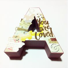 Mad Scrap Project: letra decorada por MrsDiaz Scrap #scrapbooking #letra #madscraproject Scrapbook, Letters, Photo And Video, Paper, Projects, Crafts, Inspiration, Names, Home Workshop