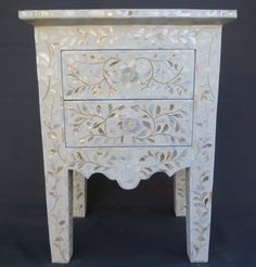 Indian Mother of Pearl Inlay Furniture Bedside Table