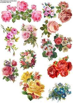 Vintage Sticker resource for DIY or print Flower Images, Flower Art, Diy Resin Crafts, Paper Crafts, Decoupage Printables, Illustration Blume, Scrapbooking, Decoupage Vintage, Flower Clipart