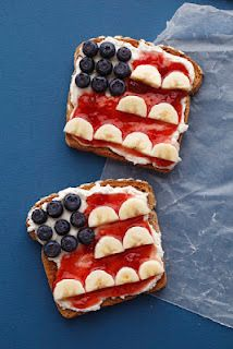 Kids can make this easy 4th of July treat with bananas, blueberries, cream cheese, strawberry jam (or strawberries) and a slice of bread.