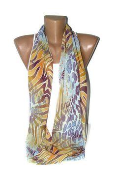 Infinity women scarf - Fashion scarves, Loop scarf, chiffon fabric, soft, gift ideas, for woman, fashion. $15.00, via Etsy.