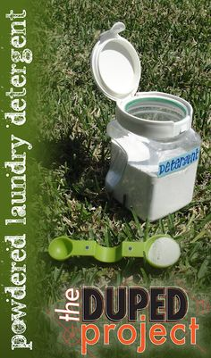 """Simple DIY powdered laundry detergent for about $0.03 a load. HE and sensitive skin friendly. Click through for recipe, and find out what's in """"natural"""" detergents that isn't so natural."""