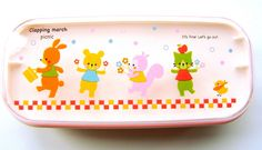 2 Tier Bento Box With Band Clapping March Picnic Pink And Yellow