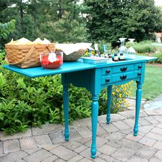 10 Amazing Painted Furniture Makeovers - The Kim Six Fix - Sewing Machine Bar Cart Love it!!