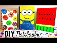 DIY: Cute and colourful notebooks (Watermelon, Pineapple and Polka dot print) - YouTube