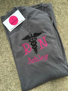 NEW Long Sleeve Monogram Caduceus Nurse Shirt by SLMonograms