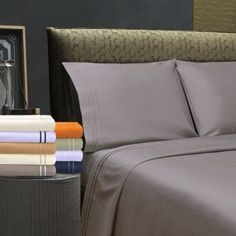 Superior Premium Long-Staple Combed Cotton 800 Thread Count Embroidered Sheet Set, Silver