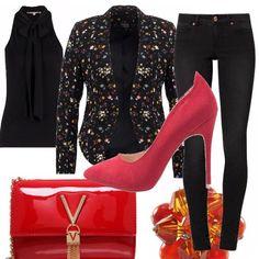 Per+una+serata+di+settembre+casual+ho+scelto+un+look+total+black+con+blazer+a+fondo+nero+con+fiorellini+di+vari+colori.+Per+tutti+gli+accessori+il+colore+è+il+rosso.+Togliendo+la+giacca+avremo+una+maglia+senza+manica+molto+carina+anche+per+una+serata+in+discoteca.+Un+outfit+da+usare+in+più+occasioni.