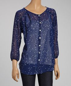 Navy Sheer Confetti Button-Up Top #zulily #zulilyfinds