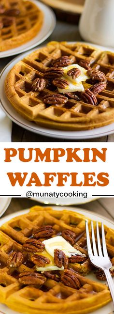 Pumpkin waffles, delicious and light breakfast which can be converted to a fancy dessert if topped with ice cream and caramel. Delicious Breakfast Recipes, Brunch Recipes, Dessert Recipes, Sweet Recipes, Yummy Food, Brunch Ideas, Savory Waffles, Pumpkin Waffles, Waffle Iron Recipes