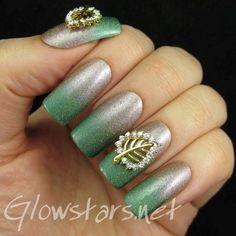 Feat Born Pretty Studded Hollow Leaf Nail Art Decorations #silver #ombre #green #pretty #nailart - bellashoot.com & bellashoot iPhone & iPad app