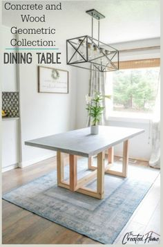 Concrete and Wood Geometric Collection: Dining Table. Concrete and Wood Geometric Collection: Dining Table. Click The Link For See Diy Dining Room Table, Dining Table Makeover, Diy Furniture Table, Concrete Furniture, Dining Table Design, Modern Dining Table, Diy Table Top, Dyi Kitchen Table, Dyi Tables