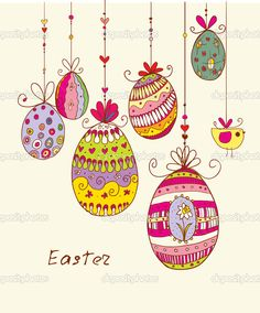Doodle decorative colorful eggs for Easter. — Imagen vectorial #31999437