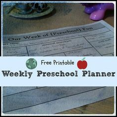 Free printable: Weekly preschool planner