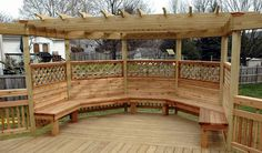 Wooden Built In Seating Deck Benches With Pergola : Built In Seating Deck Benches , Landscaping And Outdoor Building