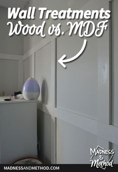 Planning to add board and batten wainscoting? Read about the pros and cons of wall treatments in wood vs. MDF from someone who's done both! Window Casing, Door Hooks, Board And Batten, Baseboards, Wainscoting, Wall Treatments, Madness, Something To Do, Diy Projects