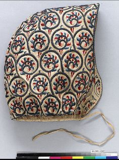 Coif, Linen worked with silk and metal thread, spangles; satin, long -and-short, braid, buttonhole, and couching stitches, British