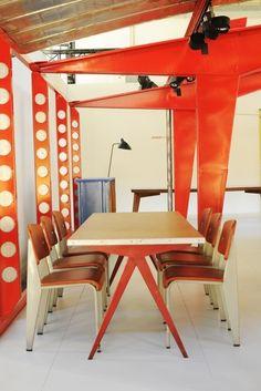 "Vitra EM Table | Jean Prouvé 1950 | medium: 78.75"" L | 35.5"" w | 28.25"" h large: 98.5"" L | 35.5"" w | 28.25"" h Standard Chair 16.5"" w | 19.25"" d | 32.75"" h | seat: 17.75"""