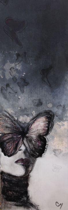 Giboulée par Christyne Proulx/ ©2015/ Technique mixte sur bois / collage /encadré 12X36/ figurative and contemporary art/ acrylique, art painting, Street Art (Urban Art), Canvas, Women, butterfly/ Portraits, femme, papillon, street art, patchwork, peinture, contemporain, abstrait, tableau street art,expressionnisme, surréaliste.