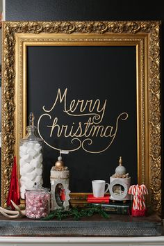 """Living With Kids: Candice Stringham; have each of the kids write """"Merry Christmas"""" on black canvas and frame"""