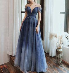 Princess Prom Dresses, Pretty Prom Dresses, Blue Evening Dresses, A Line Prom Dresses, Tulle Prom Dress, Ball Dresses, Elegant Dresses, Bridesmaid Dresses, Formal Dresses