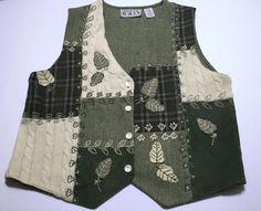Keren Hart Green Leaf Patchwork Vest Size L Wool Blend Lined Fall  #KerenHart