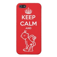 """Keep Calm And Kiss My Ass. Unique, trendy, funny and cute iPhone 5 case with fun parody on the vintage British """"Keep Calm And Carry On"""" quote on red background."""