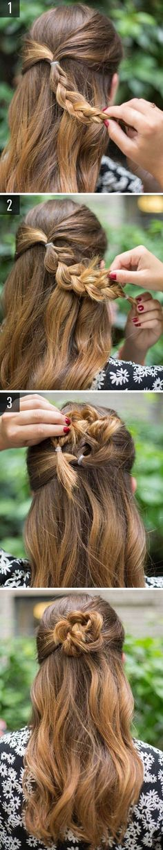 Light hair - Hair Styles For School Lazy Girl Hairstyles, Super Easy Hairstyles, Easy Hairstyles For School, Step By Step Hairstyles, Trendy Hairstyles, Wedding Hairstyles, Bun Hairstyles, Long Haircuts, Flower Hairstyles