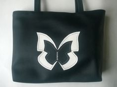 Liberty Duo White Black Applique Diamante Butterfly Faux Leather Tote Bag