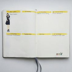 Bullet Journal Weekly Spread  Yellow